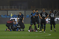 SAN JOSE, CA - SEPTEMBER 13: Guram Kashia #37 of the San Jose Earthquakes is being looked after by the team doctor during a game between Los Angeles Galaxy and San Jose Earthquakes at Earthquakes Stadium on September 13, 2020 in San Jose, California.