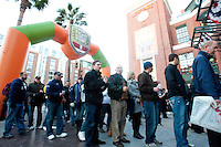 SAN FRANCISCO, CA--Fans line up for the inaugural Kraft Fight Hunger Bowl at AT&T Park in San Francisco, CA.