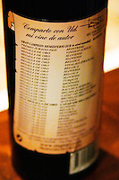 Bottle of wine with a very long list of medals that the wine has won. Bodega Vinos Finos H Stagnari Winery, La Puebla, La Paz, Canelones, Montevideo, Uruguay, South America