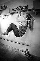 Shauna Coxsey training at Climbing Works, Sheffield
