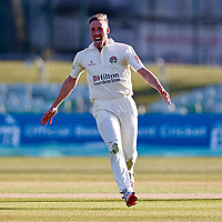 Luke Wood of Lancashire celebrates taking the wicket of Jack Leaning during Kent CCC vs Lancashire CCC, LV Insurance County Championship Group 3 Cricket at The Spitfire Ground on 23rd April 2021