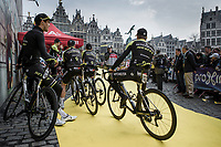 Team Mitchelton Scott awaiting the pre race team presentation of the 103rd Ronde van Vlaanderen 2019<br /> One day race from Antwerp to Oudenaarde (BEL/270km)<br /> <br /> ©kramon