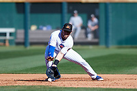 Mesa Solar Sox first baseman Ian Rice (56), of the Chicago Cubs organization, fields a ground ball during an Arizona Fall League game against the Glendale Desert Dogs on October 28, 2017 at Sloan Park in Mesa, Arizona. The Solar Sox defeated the Desert Dogs 9-6. (Zachary Lucy/Four Seam Images)
