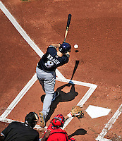 23 August 2009: Milwaukee Brewers' left fielder Ryan Braun in action against the Washington Nationals at Nationals Park in Washington, DC. The Nationals defeated the Brewers 8-3 to take the third game of their four-game series, snapping a five games losing streak. Mandatory Credit: Ed Wolfstein Photo