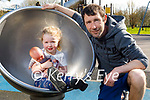 Enjoying the playground in the Tralee town park on Tuesday, l to r: Ava with her doll Emma and her dad Eddie O'Mahoney.