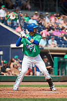 Hartford Yard Goats shortstop Ryan Metzler (8) at bat during a game against the Trenton Thunder on August 26, 2018 at Dunkin' Donuts Park in Hartford, Connecticut.  Trenton defeated Hartford 8-3.  (Mike Janes/Four Seam Images)