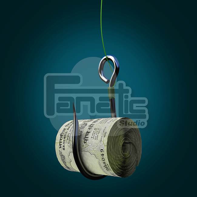 Bundle of Indian five hundred rupee notes on a fishing hook