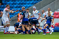 21st August 2020; AJ Bell Stadium, Salford, Lancashire, England; English Premiership Rugby, Sale Sharks versus Exeter Chiefs; Faf de Klerk of Sale Sharks clears the ball