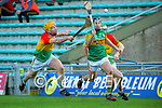 Shane Conway, Kerry in action against Ger Coady, Carlow during the Joe McDonagh hurling cup fourth round match between Kerry and Carlow at Austin Stack Park on Saturday.