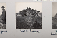 BNPS.co.uk (01202 558833)<br /> Pic: C&TAuctions/BNPS<br /> <br /> Pictured: Troops sat on a destroyed British tank. <br /> <br /> Fascinating previously unseen World War One photos showing the conflict from the German perspective have come to light 103 years on.<br /> <br /> Major Hans Rudloff, a distinguished artillery officer, took hundreds of images of some of the major Western Front battles.<br /> <br /> There are scenes of destruction on the Verdun and at Cambrai, as well as snapshots of captured British soldiers on the Somme in the early days of the German Spring Offensive in March 1918.
