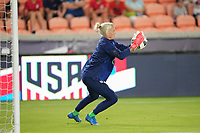HOUSTON, TX - JUNE 13: Jane Campbell  #18 of the United States warming up before a game between Jamaica and USWNT at BBVA Stadium on June 13, 2021 in Houston, Texas.