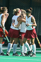 6 November 2007: Stanford Cardinal Xanthe Travlos scores a goal during Stanford's 1-0 win against the Lock Haven Lady Eagles in an NCAA play-in game to advance to the NCAA tournament at the Varsity Field Hockey Turf in Stanford, CA.