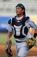 Tampa Yankees catcher Mitch Abeita #29 before a game against the Clearwater Threshers at Steinbrenner Field on June 22, 2011 in Tampa, Florida.  The game was suspended due to rain in the 10th inning with a score of 2-2.  (Mike Janes/Four Seam Images)