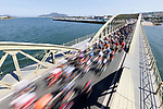 The peloton speed by during Stage 16 of La Vuelta d'Espana 2021, running 180km from Laredo to Santa Cruz de Bezana, Spain. 31st August 2021.     <br /> Picture: Luis Angel Gomez/Photogomezsport   Cyclefile<br /> <br /> All photos usage must carry mandatory copyright credit (© Cyclefile   Luis Angel Gomez/Photogomezsport)