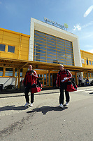 Wednesday 07 August 2013<br /> Pictured L-R: Goalkeeping coach Adrian Tucker and coach Alan Curtis exit Malmo Airport terminal shortly after his arrival.<br /> Re: Swansea City FC travelling to Sweden for their Europa League 3rd Qualifying Round, Second Leg game against Malmo.
