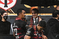 French President Emmanuel MACRON and Jerome KAINO of Stade Toulousain during the Top 14 Final match between Toulouse and La Rochelle at Stade de France on June 25, 2021 in Paris, France. (Photo by Anthony Dibon/Icon Sport) - Jerome KAINO - Emmanuel MACRON - Stade de France - Paris (France)