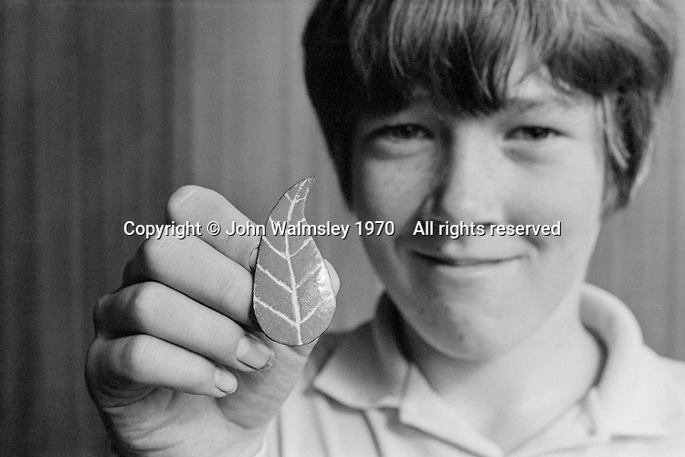 Proud of an enamel brooch he'd made, Whitworth Comprehensive School, Whitworth, Lancashire.  1970.