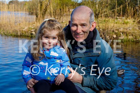 Ella King enjoying a stroll with her granddad Jerry King at Ross Castle Killarney on Saturday.