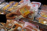Banco della carne.Meat counter.Supermercato Coop.
