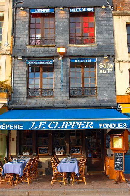 Harbour side restauarant - The Clipper. Honfleur, Normandy, France.