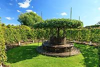 Les jardins du prieuré d'Orsan : au centre du labyrinthe, un banc tressé surmonté d'un pommier en ombrelle, autour, des poiriers palissés<br /> <br /> Mention obligatoire du nom du jardin et pas d'usage publicitaire sans autorisation préalable.