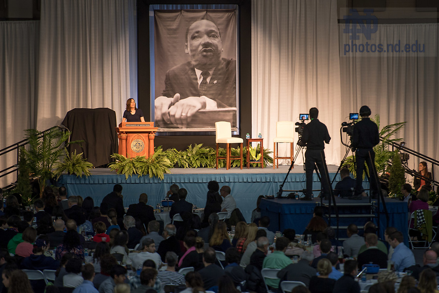 January 22, 2018; Chief of Staff Ann Firth emcees the 2018 MLK Luncheon. (Photo by Matt Cashore/University of Notre Dame)
