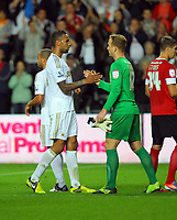 Pictured L-R: Kyle Bartley of Swansea greets goalkeeper Ben Alnwick of Barnsley. Tuesday 28 August 2012<br /> Re: Capital One Cup game, Swansea City FC v Barnsley at the Liberty Stadium, south Wales.