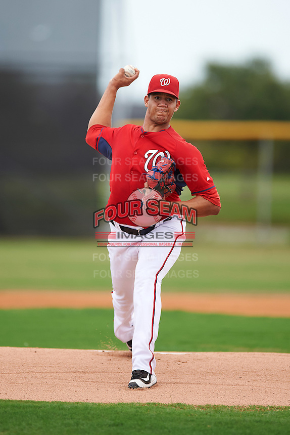 GCL Nationals starting pitcher Jeffrey Rosa (50) during a game against the GCL Astros on August 14, 2016 at the Carl Barger Baseball Complex in Viera, Florida.  GCL Nationals defeated GCL Astros 8-6.  (Mike Janes/Four Seam Images)