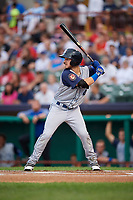 Brooklyn Cyclones left fielder Dylan Tice (4) at bat during a game against the Tri-City ValleyCats on August 21, 2018 at Joseph L. Bruno Stadium in Troy, New York.  Tri-City defeated Brooklyn 5-2.  (Mike Janes/Four Seam Images)