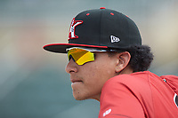 Kannapolis Intimidators relief pitcher Wilber Perez (10) watches from the dugout during the game against the Delmarva Shorebirds at Kannapolis Intimidators Stadium on May 19, 2019 in Kannapolis, North Carolina. The Shorebirds defeated the Intimidators 9-3. (Brian Westerholt/Four Seam Images)
