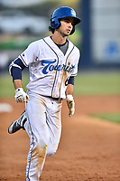 Asheville Tourists shortstop Terrin Vavra (6) rounds the bases after hitting a home run during a game against the Hagerstown Suns at McCormick Field on April 30, 2019 in Asheville, North Carolina. The Tourists defeated the Suns 5-4. (Tony Farlow/Four Seam Images)