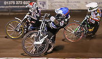 Heat 12: Adam Ellis (blue), Richard Lawson (red) and Peter Ljung (white) - Lakeside Hammers vs Leicester Lions, Elite League Speedway at the Arena Essex Raceway, Pufleet - 04/04/14 - MANDATORY CREDIT: Rob Newell/TGSPHOTO - Self billing applies where appropriate - 0845 094 6026 - contact@tgsphoto.co.uk - NO UNPAID USE