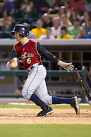 Carmen Angelini (6) of the Scranton/Wilkes-Barre RailRiders follows through on his swing against the Charlotte Knights at BB&T Ballpark on July 17, 2014 in Charlotte, North Carolina.  The Knights defeated the RailRiders 9-5.  (Brian Westerholt/Four Seam Images)