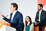 President of Ciudadanos Albert Rivera (l), Ines Arrimadas, and Fernando de Paramo (r)  during General Council. July 29, 2019. (ALTERPHOTOS/Francis González)