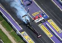 Apr. 28, 2012; Baytown, TX, USA: Aerial view of NHRA top fuel dragster driver Doug Kalitta during qualifying for the Spring Nationals at Royal Purple Raceway. Mandatory Credit: Mark J. Rebilas-