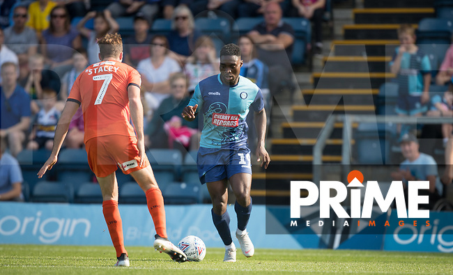 Fred Onyedinma (on loan from Millwall) of Wycombe Wanderers in action during the Sky Bet League 1 match between Wycombe Wanderers and Luton Town at Adams Park, High Wycombe, England on 1 September 2018. Photo by Andy Rowland.