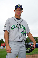 Cedar Rapids Kernels pitcher J.O. Berrios #44 poses for a photo before a game against the Beloit Snappers on May 23, 2013 at Pohlman Field in Beloit, Wisconsin.  Beloit defeated Cedar Rapids 5-3.  (Mike Janes/Four Seam Images)