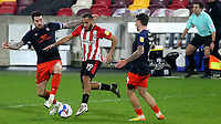 Bryan Mbeumo of Brentford takes on the Luton Town defence during Brentford vs Luton Town, Sky Bet EFL Championship Football at the Brentford Community Stadium on 20th January 2021