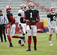 Arkansas quarterback KJ Jefferson warms up Saturday, April 3, 2021, before the start of a scrimmage at Razorback Stadium in Fayetteville. Visit nwaonline.com/210404Daily/ for today's photo gallery. <br /> (NWA Democrat-Gazette/Andy Shupe)