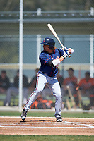 Minnesota Twins Christian Cavaness (12) during a minor league Spring Training game against the Baltimore Orioles on March 17, 2017 at the Buck O'Neil Baseball Complex in Sarasota, Florida.  (Mike Janes/Four Seam Images)