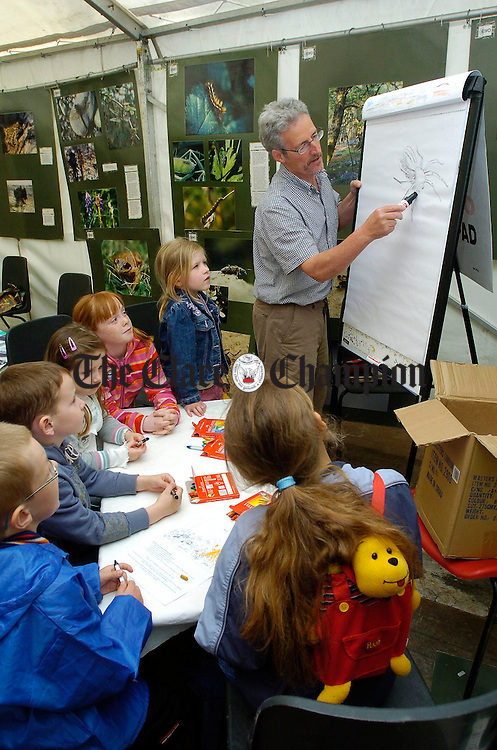 Wildlife artist Gordon D'Arcy shows how to capture wildlife on paper at the Clare Biodiversity day in Dromore wood. Photograph by John Kelly.