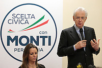 Valentina Vezzali, Mario Monti .Roma 15/02/2013 Presentazione del programma per lo sport della Scelta Civica Monti per l'Italia..The italian premier presents his program for sport for the next elections 2013 and candidate two of the best athlets in the world at the past olympic and paralympic games. .Photo Samantha Zucchi Insidefoto