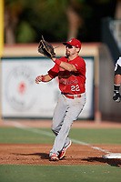 Palm Beach Cardinals first baseman Stefan Trosclair (22) waits to receive a throw during a game against the Jupiter Hammerheads on August 4, 2018 at Roger Dean Chevrolet Stadium in Jupiter, Florida.  Palm Beach defeated Jupiter 7-6.  (Mike Janes/Four Seam Images)