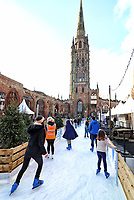 Coventry which is the UK City of Culture in 2021 opens their festive ice-skating experience called 'Coventry Glides'. It is located beside and around the city's iconic cathedral ruins, creating an atmospheric festive experience for visitors to enjoy during the winter period.<br /> The city is currently under nationwide Tier 3 Covid-19 restriction and as such can only admit people from Coventry, Warwickshire, and Solihull. Saturday 5th December 2020 <br /> <br /> Photo by Keith Mayhew