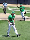 June 4, 2021; Pitcher John Michael Bertrand (28) celebrates after Notre Dame defeated Central Michigan 10-0 in the first game of the NCAA Tournament at Frank Eck Stadium. Notre Dame won 10-0.  (Photo by Barbara Johnston/University of Notre Dame)