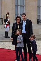 France. Paris (75)- CÈrÈmonie d'installation de M. Emmanuel Macron, PrÈsident de la RÈpublique au Palais de l'ElysÈe. Sebastien Auziere avec sa femme Christelle et ses enfants