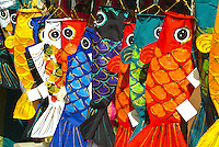 Colorful koi wind socks for sale at the Japanese Cultural Center's Ohana Day in Honolulu. In late April and May, these banners fly from poles attached to rooftops in celebration of May 5, Boy's Day, or Tango-no-Sekku, the Boy's Festival, to honor th