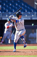 Surprise Saguaros Mauricio Ramos (9), of the Kansas City Royals organization, during a game against the Peoria Javelinas on October 12, 2016 at Peoria Stadium in Peoria, Arizona.  The game ended in a 7-7 tie after eleven innings.  (Mike Janes/Four Seam Images)