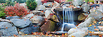 Man Made Waterfall, large with stone stairs in Northwest Landscape.  Fall Color. Available exclusively from www.spacesimages.com