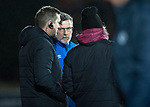 St Johnstone v Hearts…23.12.17…  McDiarmid Park…  SPFL<br />Craig Levein talks with Austin McPhee and John Daly<br />Picture by Graeme Hart. <br />Copyright Perthshire Picture Agency<br />Tel: 01738 623350  Mobile: 07990 594431